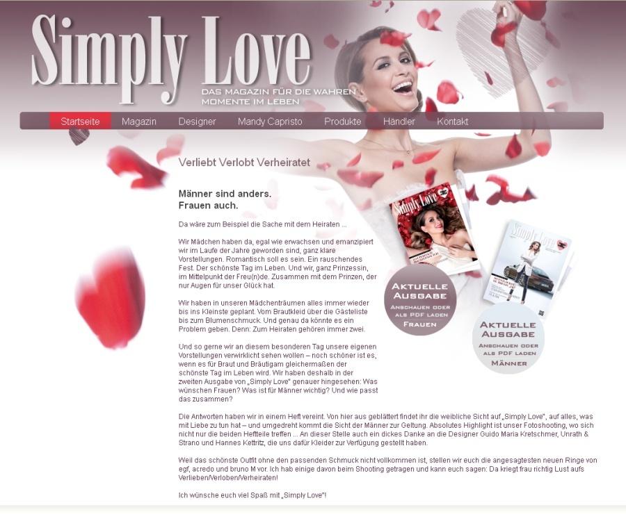 Magazin rund um das Thema Liebe, Verlobung und Hochzeit